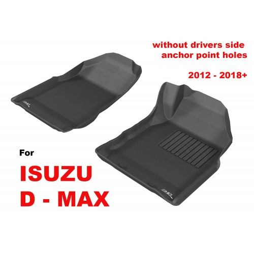 To Fit ISUZU D MAX 2012 - 2019 (NO FLOOR HOOKS) Front Pair Kagu Rubber