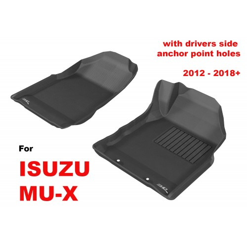 To Fit ISUZU MU-X 2012 - 2019 (with FLOOR HOOKS) Front Pair Kagu Rubber