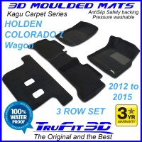 To Fit Holden Colorado 7 Wagon 2012-2015 (WITH FLOOR HOOKS) 3-Row Set Kagu Carpet