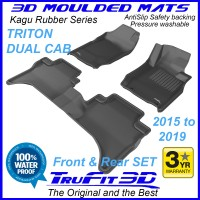 To Fit Mitsubishi Triton Dual Cab MQ2 - MR 2017 - 2020  Front & Rear Kagu RUBBER