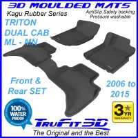 To Fit Mitsubishi Triton Dual Cab 2006 - 2015  Front & Rear Kagu RUBBER