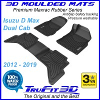 To Fit ISUZU D MAX Dual Cab 2012 - 2019 (NO FLOOR HOOKS) Front & Rear Maxtrac Rubber