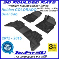 To Fit Holden Colorado Dual Cab 2012 - 2015 (NO FLOOR HOOKS) Front & Rear Maxtrac Rubber