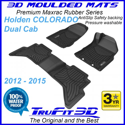 To Fit Holden Colorado Dual Cab 2012 - 2015 (WITH FLOOR HOOKS) Front & Rear Maxtrac Rubber