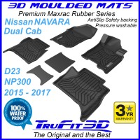 To Fit Nissan Navara Dual Cab 2015 - 2017 NP300 D23 Front & Rear MAXTRAC RUBBER