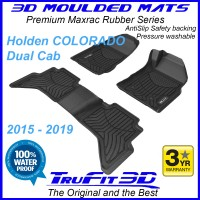 To Fit Holden Colorado Dual Cab 2015 - 2020 Front & Rear 3D Maxtrac Rubber