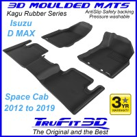 To Fit ISUZU D MAX Space Cab 2012 - 2019 (D/S has FLOOR HOOKS) Front & Rear Kagu Rubber