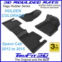 To Fit Holden Colorado Space Cab 2012 - 2015 (NO FLOOR HOOKS) Front & Rear Kagu Rubber