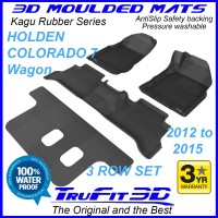 To Fit Holden Colorado 7 Wagon 2012-2015 (WITH FLOOR HOOKS) 3-Row Set Kagu Rubber