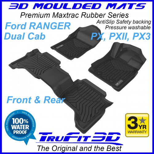 To Fit Ford Ranger Dual Cab PX, PX2, PX3 2011- 2021 Front & Rear 3D Maxtrac RUBBER