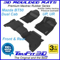 To Fit Mazda BT50 Dual Cab UP, UR 2012 - 2020 Front & Rear 3D Maxtrac BLACK RUBBER