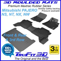 To Fit Mitsubishi Pajero NS, NT, NX, NW 2006 - 2020 3D MAXTRAC RUBBER (3 rows)