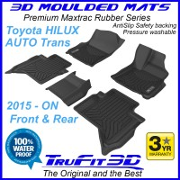 To Fit Toyota Hilux AUTO Dual Cab 2015 - 2019  Front & Rear 3D MAXTRAC RUBBER