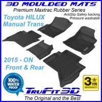 To Fit Toyota Hilux MANUAL Dual Cab 2015 - 2019 Front & Rear 3D MAXTRAC RUBBER