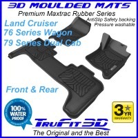 To Fit Toyota Land cruiser 79 Series Dual Cab 2007 - 2020 - Front & Rear 3D Maxtrac RUBBER