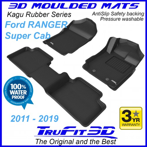 To FIt Ford Ranger PX, PX2, PX3 2011 - 2019 SUPER Cab Front & Rear Kagu RUBBER