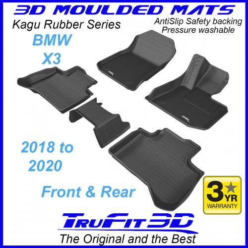 To Fit BMW X3 2018 - 2020 (G01) Front & Rear 3D Kagu RUBBER