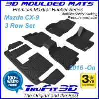 To Fit Mazda CX9 2016 - 2020 3 Row Set of 3D Maxtrac BLACK RUBBER mats