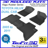 To Fit Toyota Hilux Dual Cab 2005 - 2011 3D Kagu RUBBER mats