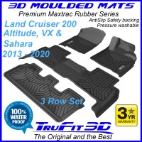 To Fit Toyota Land Cruiser 200 Altitude, VX, SAHARA 2013 - 2020 3D Maxtrac Rubber (3 Rows)