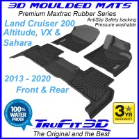 To Fit Toyota Land Cruiser 200 Altitude, VX, SAHARA 2013 - 2020 3D Maxtrac Rubber Front & Rear