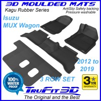 To Fit Isuzu MU-X 2012 - 2019 (NO FLOOR HOOKS) 3-Row Set 3D Kagu Rubber