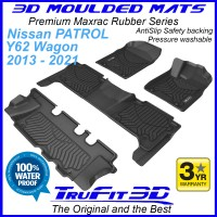 To Fit Nissan Patrol Y62 2013 - 2021 - 3 Row Set - 3D MAXTRAC RUBBER