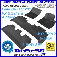 To Fit Toyota Land Cruiser 200 Altitude, VX, SAHARA 2013 - 2020 KAGU Rubber (3 Rows)