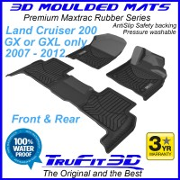 To Fit Toyota Land Cruiser 200 GX / GXL 2007 - 2012 Front & Rear 3D MAXTRAC Rubber
