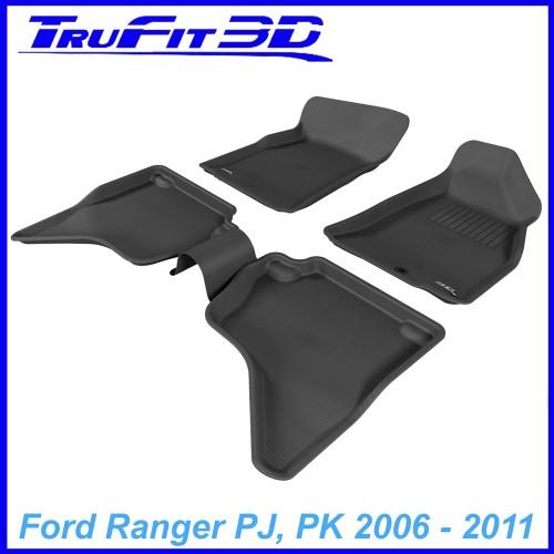 To Fit Ford Ranger Dual Cab PJ - PK  2006 - 2011 Front & Rear 3D Kagu Rubber