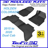To Fit Holden Colorado Dual Cab 2015 - 2020 Front & Rear 3D Kagu Rubber