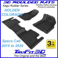 To Fit Holden Colorado Space Cab 2015 - 2020 Front & Rear 3D Kagu Rubber